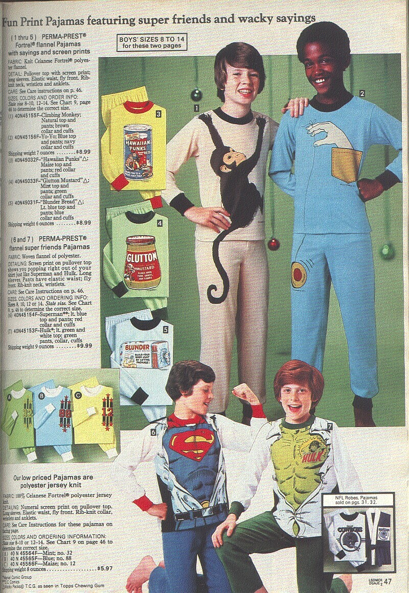 Wacky Packages Pajamas from the 1980 Sears Christmas Catalog